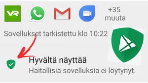 Kuvakaappaus: Google Play Protect kännykän asetuksissa + toiminnon logo.