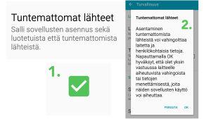 Kuvakaappaus Android-puhelimen Asetuksista: Salli sovellusten asennus tuntemattomista lähteistä.