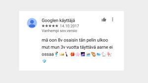 Kuvakaappaus Google Play -sovelluskaupan arvioista, krijoittajana lapsi.
