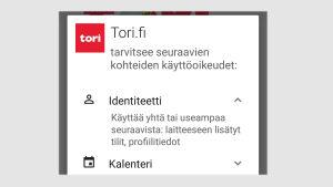 Kuvakaappaus sovelluksen asennuksesta Android-puhelimella (versio 5.0): Osa sovelluksen haluamista oikeuksista.