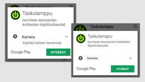 Kuvakaappaus Google Play -sovelluskaupasta: Taskulamppusovellus haluaa asentaessa käyttää puhelimen kameraa sekä versiossa 5.0. että 7.0.