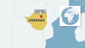 Karta över Zimbabwe.