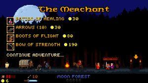 Skärmen mellan äventyr i spelet Thy Sword
