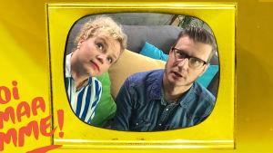 Televisioruudussa Minna Joenniemi ja Anssi Kasitonni