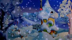 Det snöar i Mumindalen och mumintrollens hus är nästan helt täckt av snö.