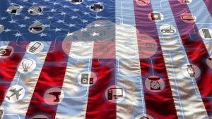 Amerikanska flaggan och en stiliserad bild av internet