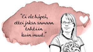 """Krista Leksis: """"Ei ole häpeä, ettei jaksa samaan tahtiin kuin muut."""""""