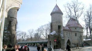Vanhan kaupungin portti ja muuri Tallinnassa.