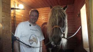 Hevossaunottaja Jouko Tarvainen saunottaa hevosia Saarijärvellä