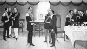 J.V. Snellman esitellään keisari Aleksanteri II:lle Parolassa.