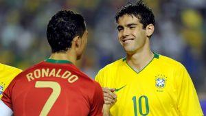 Portugalilainen jalkapalloilija Cristiano Ronaldo ja brasilialainen Kaká
