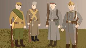 Venäläisen ja saksalaisen maavoimien sotilaan asut
