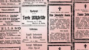 Ilmoitus Vaasa-lehdessä 16.2.1918.