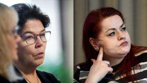 SuPers ordförande Silja Paavola och Tehys ordförande Millariikka Rytkönen.