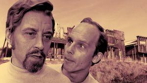 Näyttelijät Aimo Tepponen ja Seppo Kolehmainen kuvituskuvassa kuunnelmaan Kuolleessa kaupungissa kummittelee.