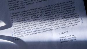 Presidentti Urho Kekkosen nekrologi