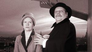 Kuvituskuva kuunnelmaan Leino lähtee Viroo, näyttelijät Kaija Pakarinen ja Esko Nikkari.