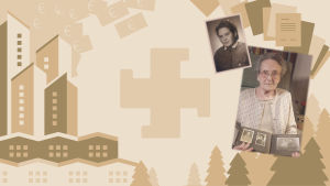 Lotta näyttää vanhaa valokuva-albumia. Taustalla kuvitusta Lotta Svärd Säätiön omistuksista.