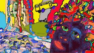 Pekka Strengin Papiljonttinainen-kuunnelman inspiroima piirros.