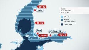 Grafik som visar isläget vid Finlands kuster