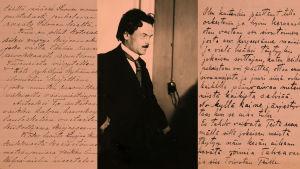 Kirjeitä sekä kuva Toivo Kuulasta pianon ääressä.