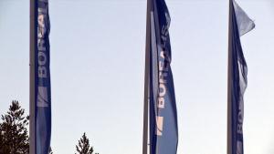Borealis-yhtiön liput liehuvat Porvoossa.