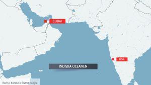 Karta över Indiska oceanen.