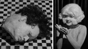 Eraserhead-elokuvan hahmoja: kumipää-Henry ja Patterileidi.