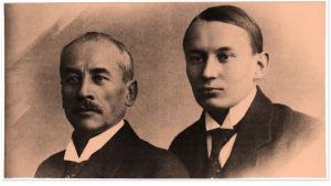 Oskar ja Aarre Merikanto yhteiskuvassa helmikuussa vuonna 1919.
