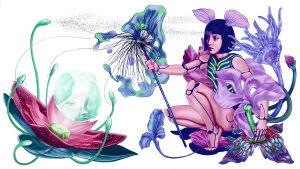 Kuvassa nainen istuu kukkien keskellä ja pitää toisessa kädessä dildo-emiä ja toisessa kukkamaista sauvaa, jonka heteet kietoutuvat toisen kukan lonkeroulokkeisiin. Lonkeroulokkeisen kukan keskiöön heijastuu kuva miehestä harrastamassa virtuaaliseksiä.