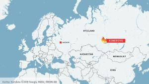 Karta över Asien och Europa där Kemerovo är markerat.