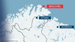 Karta över Finnmark.