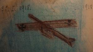 Katarina Sibeliuksen piirtämä saksalainen lentokone 1918.
