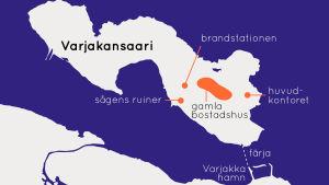 Karta över ön Varjakansaari.