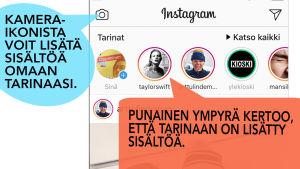 kuvakaappaus Instagram ruudusta, jossa kaksi puhekuplaa. Toinen osoittaa kamera-ikoniin tekstillä Kamera-ikonista voit lisätä sisältöä omaan tarinaaasi. Toinen etusivun ylärivissä näkyy ensimmäisenä oma tarinasi.