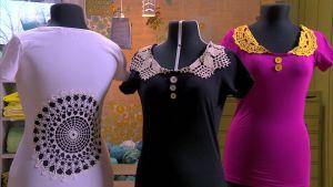 Lees t-tröjor med virkade dekorationer