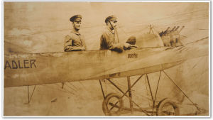 Valokuva kahdesta jääkäristä lentokoneessa pahvikuliseissa, Saksa ehkä 1917.