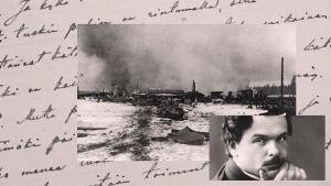 Valkoisten hyökkäyksen aiheuttamat savut kohoavat Raudun asemalta 5.4.1918 kello 11.20.
