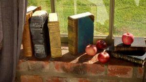 Målade tegelstensböcker i fönster.