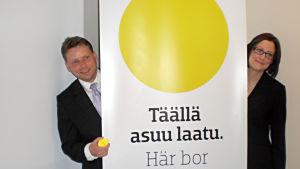 Marknadsföringschef Ola Smedlund och programchef Mia Gustafsson vid näringscentralen Concordia
