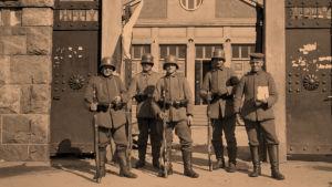 Saksalaisia sotilaita Helsingissä huhtikuussa1918.