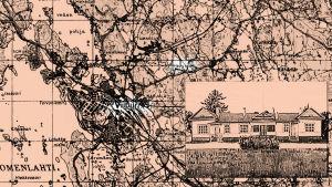 Kartta sekä piirros Häyryn kartanosta.