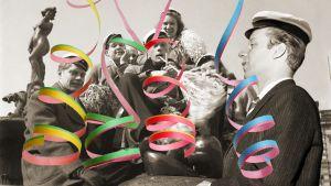 Kuvassa nuorisojoukko juhlii vappua