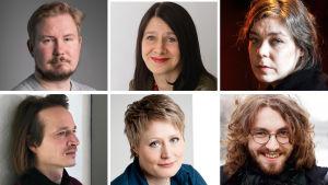 Runoilijat Eino Santanen, Riina Katajavuori, Kaisa Ijäs, Lassi Hyvärinen, Suvi Valli ja Susinukke Kosola