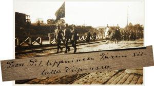 Jääkärikapteeni Uuno Kouran kuva-albumi 1918: pioneeripataljoona Turun sillalla viipurissa.