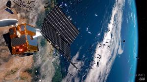 hajonnut satelliitti kiertoradalla, avaruusromua