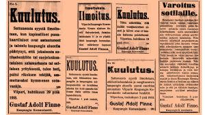 Ilmoituksia Wiipuri-lehdessä toukokuussa 1918.