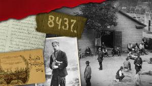 Kollaasikuva, jossa taustalla mustavalkoinen kuva Suomenlinnan vankileiriltä vuodelta 1918. Lisäksi kuvassa luku 8437 ja otteita vanhoista kirjeistä.