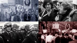 Kollaasi opiskelijamielenosoituksista Saksassa, Ranskassa ja Italiassa vuonna 1968: kulkueissa kannetaan Che Guevaran kuvaa, Daniel Cohn-Bendit puhuu mikrofoniin, ranskalaisia mellakkapoliiseja.