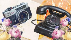 Kollaasi, jossa vanha kamera, puhelin, ruusuja, kalenteri ja kellotaulu.